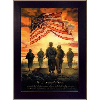 """""""Bless Americas Heroes"""" By Bonnie Mohr, Printed Wall Art, Ready To Hang Framed Poster, Black Frame"""