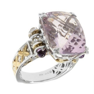 Michael Valitutti Two-tone Rose de France, Amethyst and White Sapphire Ring