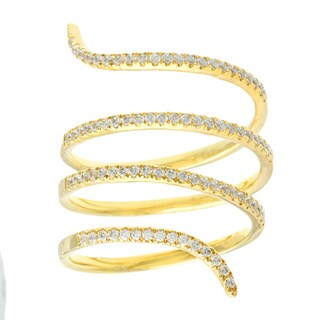 18k Yellow Gold over Sterling Silver Cubic Zirconia Pave Snake Ring