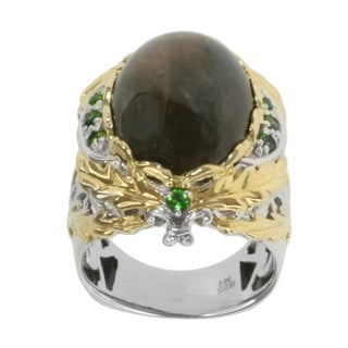 Michael Valitutti Two-tone Sterling Silver Labradorite and Chrome Diopside Ring
