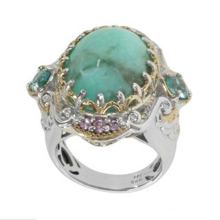 Michael Valitutti Two-tone Sterling Silver Oligoclase, Apatite and Pink Sapphire Ring