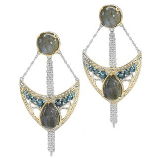 Michael Valitutti Two-tone Sterling Silver Labradorite and London Blue Topaz Earrings