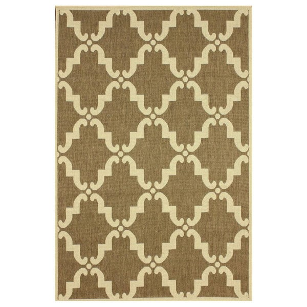 Nuloom Gina Outdoor Moroccan Trellis Polypropylene Patio: NuLOOM Modern Indoor/ Outdoor Moroccan Trellis Taupe Rug