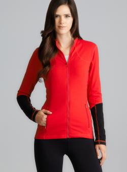 Central Park Red Contrasting Sleeve Performance Zipper Jacket