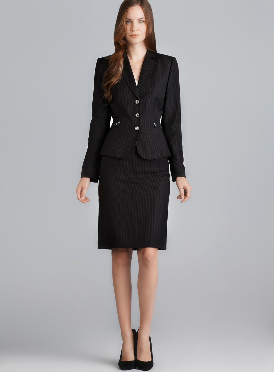 Tahari Three Button Pinstripe Skirt Suit - Free Shipping Today