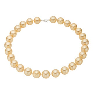 Pearlyta Sterling Silver Golden Shell Pearl Strand Necklace