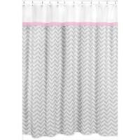 Sweet Jojo Designs Chevron Grey Shower Curtain Pink Trim