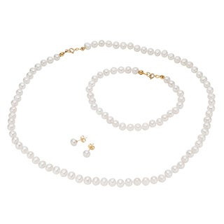 Pearlyta 14k Yellow Gold White Freshwater Pearl Jewelry Necklace, Bracelet and Earrings Set (5-6 mm)