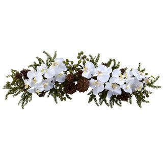 30-inch Phalaenopsis Orchid and Pine Swag Decorative Arrangement