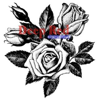 Deep Red Cling Stamp - Rose Blooms