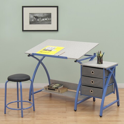 Studio Designs Comet Blue Drafting Hobby Craft Table with Stool
