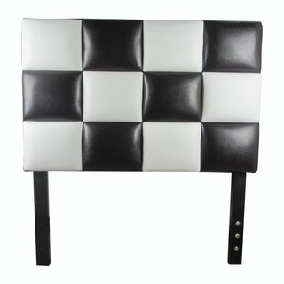 Modern Twin Size Black & White Faux Leather Headboard