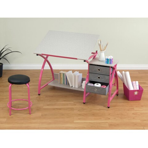 Studio Designs Comet Pink Drafting Hobby Craft Table with Stool