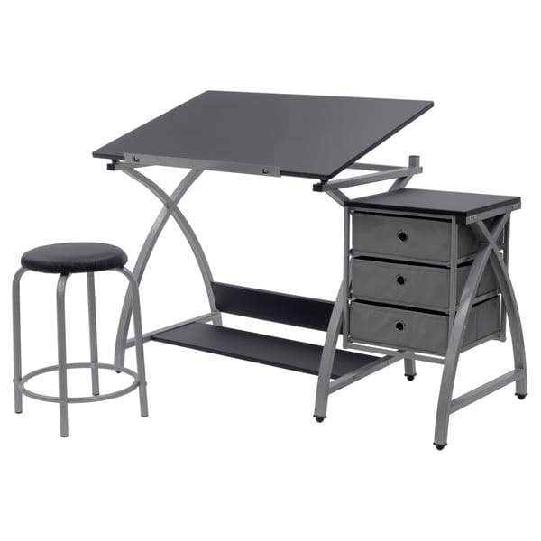 Studio Designs Comet Silver/Black Drafting Hobby Craft Table With Stool    Free Shipping Today   Overstock.com   15657733