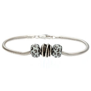 Sterling Silver White Enamel Wrap and Leopard Pattern Bead Bracelet