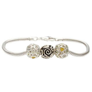 Sterling Silver Yellow and Clear Crystal Swirly Bead Charm Bracelet