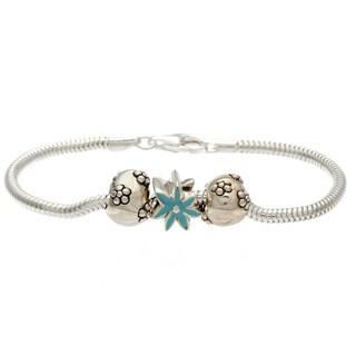 Sterling Silver Blue Enamel Flower Bead Charm Bracelet