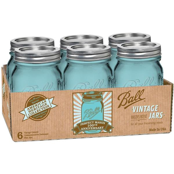 Ball Canning Jar Regular Mouth W/Lid 6/Pkg - Pint, Heritage Collection Blue