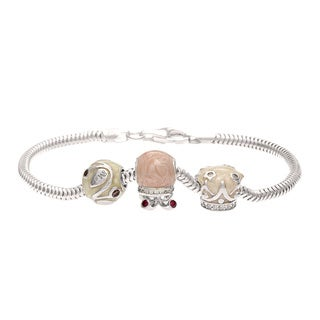 Silver Red, Pink and Brown Crystal and Enamel Bead Charm Bracelet