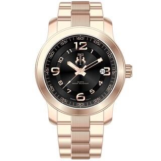 Jivago Women's Infinity Rose Goldtone Steel and Black Dial Watch