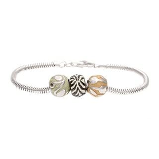 Silver Green, White and Tan Crystal and Enamel Stripe Bead Bracelet