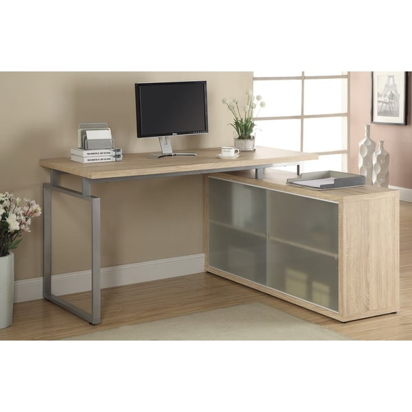 Natural Reclaimed L Shaped Desk With Frosted Glass - 15657871