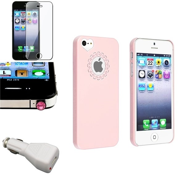 INSTEN Phone Case Cover/ LCD Protector/ Dust Cap/ Car Charger for Apple iPhone 5/ 5S