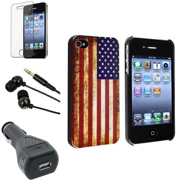 INSTEN Phone Case Cover/ LCD Protector/ Headset/ Charger for Apple iPhone 4/ 4S