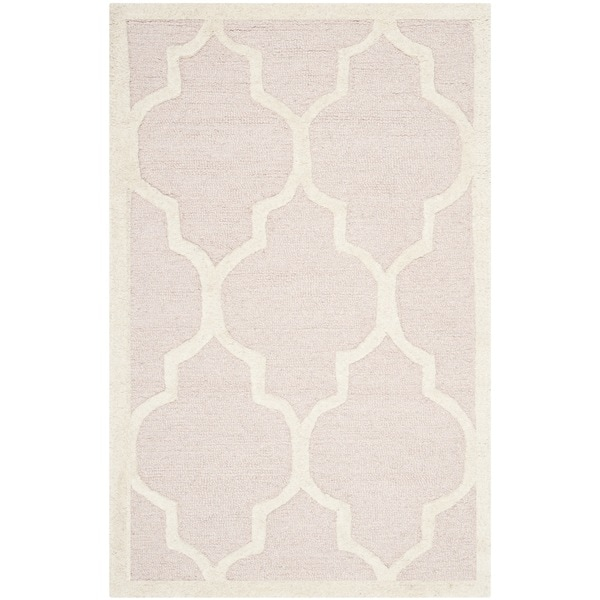 Safavieh Handmade Moroccan Cambridge Light Pink/ Ivory Wool Accent Rug (2' x 3')