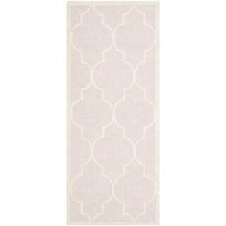 Safavieh Cambridge Light Pink/ Ivory Geometric-pattern Moroccan Handmade Wool Rug (2'6 x 6')