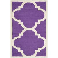 "Safavieh Handmade Moroccan Cambridge Contemporary Purple/ Ivory Wool Rug - 2'6"" x 4'"