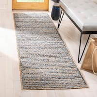 Safavieh Cape Cod Handmade Natural / Blue Jute Natural Fiber Rug - 4' x 6' oval
