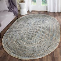 Safavieh Cape Cod Handmade Natural / Blue Jute Natural Fiber Rug - 5' x 8' Oval