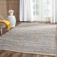 Safavieh Cape Cod Handmade Natural / Blue Jute Natural Fiber Rug - 4' x 6'