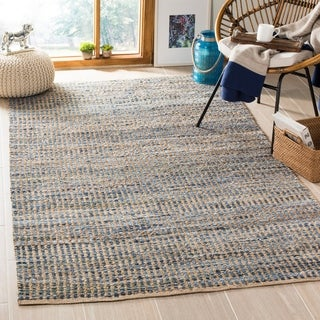 Safavieh Cape Cod Handmade Natural / Blue Jute Natural Fiber Rug - 5' x 8'