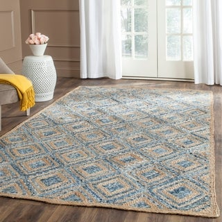 Safavieh Cape Cod Handmade Natural / Blue Jute Natural Fiber Rug with .5-inch Pile (4' x 6')