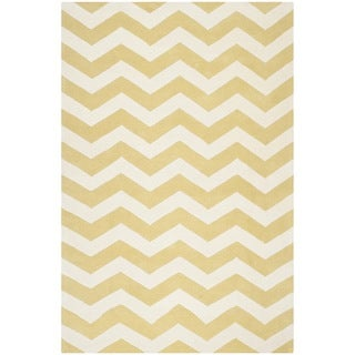 Safavieh Handmade Moroccan Chatham Light Green/ Ivory Chevron Pattern Wool  Rug (6u0027 x