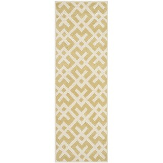 Safavieh Handmade Moroccan Chatham Light Gold/ Ivory Wool Rug (2'3 x 7')