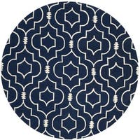 Safavieh Handmade Moroccan Chatham Dark Blue/ Ivory Wool Rug - 7' x 7' Round