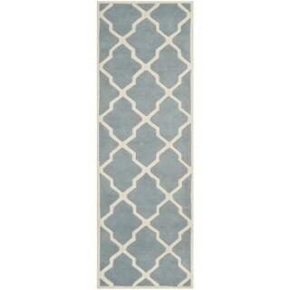 Safavieh Handmade Moroccan Chatham Soft Blue/ Ivory Wool Rug (2'3 x 7')