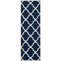 Safavieh Handmade Moroccan Chatham Dark Blue/ Ivory Wool Rug - 2'3 x 11'