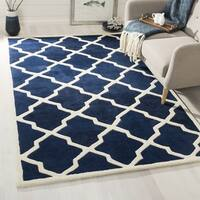 Contemporary Safavieh Handmade Moroccan Chatham Dark Blue/ Ivory Wool Rug - 3' x 5'