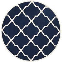 Safavieh Handmade Moroccan Chatham Dark Blue/ Ivory Wool Area Rug - 5' Round