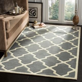 Safavieh Handmade Moroccan Chatham Geometric Dark Gray/ Ivory Wool Rug (10' x 14')