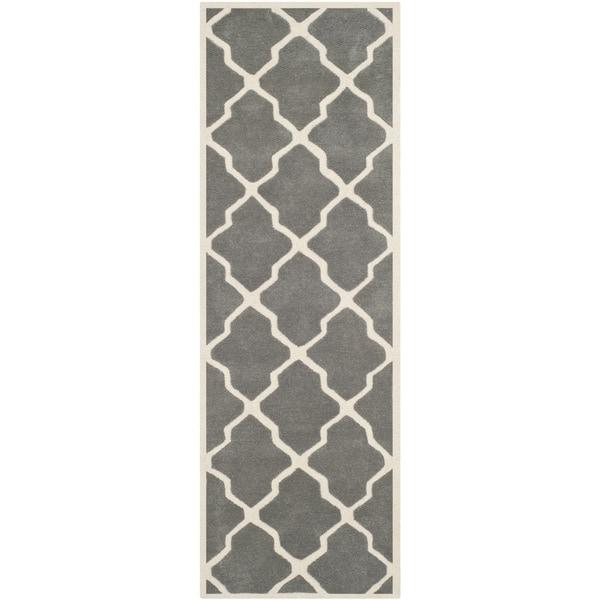 Safavieh Handmade Moroccan-design Chatham Dark Grey/ Ivory Wool Rug (2'3 x 5')