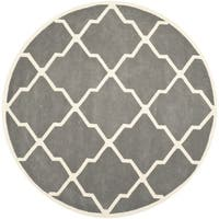 Safavieh Handmade Moroccan Chatham Dark Grey/ Ivory Wool Rug - 7' Round