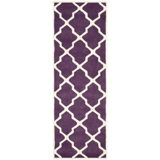 Safavieh Handmade Moroccan Chatham Purple/ Ivory Wool Rug (2'3 x 7')