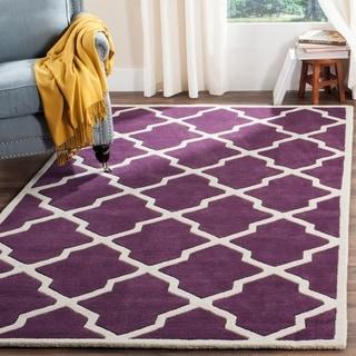 Safavieh Handmade Moroccan Chatham Purple/ Ivory Wool Area Rug (8'9 x 12')
