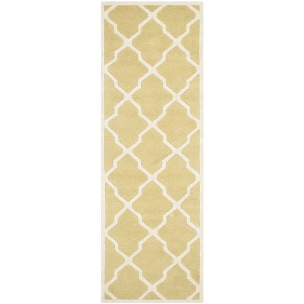 Safavieh Handmade Moroccan Chatham Light Gold/ Ivory Wool Rug - 2'3 x 9'