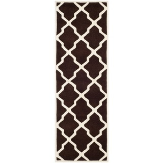 Safavieh Handmade Moroccan Chatham Dark Brown/ Ivory Wool Rug (2'3 x 7')